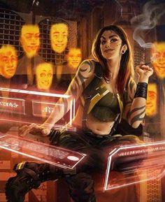 Cyberpunk / shadowrun character inspiration for a a decker / hacker / female tech character Cyberpunk 2077, Cyberpunk Girl, Fantasy Anime, Sci Fi Fantasy, Character Portraits, Character Art, Character Concept, Science Fiction, Killzone Shadow Fall