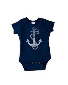 Anchor - Navy Blue Baby Onesie