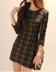 Fashionable Round Neck Plaid Long Sleeve Women's Dress