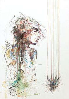 "Saatchi Online Artist Carne Griffiths; Drawing, ""Coma"" #art"