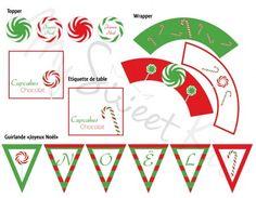 Kit à imprimer pour sweet table de Noël  Mmmmh des bonbons ! Un kit pour réaliser une vraie table de gourmands ! #sweettable #noel