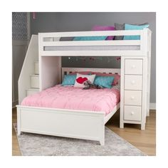 The built-in storage tower combines 4 roomy front-facing drawers with 3 book shelves behind it. The full bed fits L-shaped under the twin loft. Solid hardwood construction and guardrails to accommodate standard mattress sizes. Upper/lower slat rolls included. Staircase is reversible with 3 standard drawers and extra long bottom drawer.