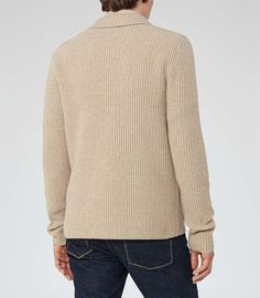 Iceland Oatmeal Ribbed Cardigan - REISS