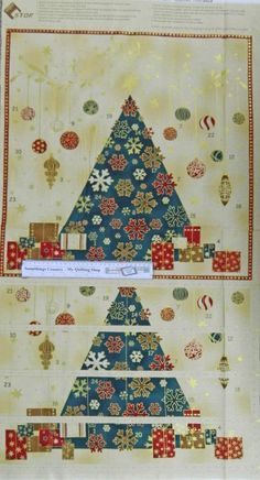 Country Patchwork Quilting Fabric - Christmas Metallic Advent Panel 60x110cm New in Crafts, Sewing & Fabric, Fabric   eBay