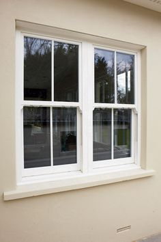 Vertical Sliders are extremely popular for replicating the character of traditional sash windows, but with all the advantages of modern uPVC windows. Upvc Sash Windows, Sliding Windows, Casement Windows, Windows And Doors, New Window Design, Sliding Window Design, Terrace House Exterior, Cottage Exterior, Bungalow Exterior