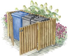 Le plus chaud Images cacher Mur exterieur Réflexions,Mülltonnen-Verkleidung aus Zauneleme. Shed Landscaping, Backyard Sheds, Outdoor Sheds, Outdoor Gardens, Garbage Can Storage, Garbage Shed, Bin Storage, Bin Shed, Outdoor Projects