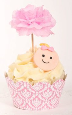 Cupcake pom picks - Pink bow baby