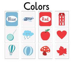 flash card colors colors nursery print english by Ilustracionymas