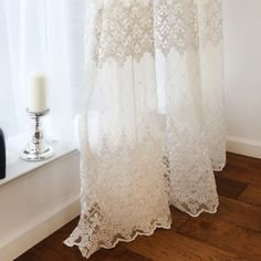 1 PC Gorgeous French Embroidery Sheer Voile Curtain Panel with Beads Cream White
