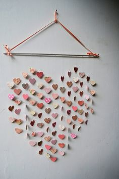wedding decor large wall | Large Pink Princess Heart Mobile / Wall Hanging / Baby Shower/ Girls ...
