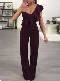 SPECIFICATIONS: Product Name Fashion One Shoulder Sleeveless Jumpsuits Brand Pinksia Color Claret red SKU Gender Women Style Elegant/Sexy/Fashion Type Jumpsuit Occasion Party/Vacation/Daily Life Material Polyester Sleeve Short Sleeves Decora Formal Jumpsuit, Elegant Jumpsuit, Dressy Jumpsuit Wedding, Burgundy Jumpsuit, Sequin Jumpsuit, Pink Jumpsuit, Moderne Outfits, Long Romper, Romper Outfit