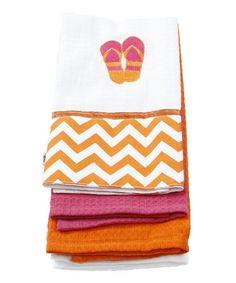 Look at this #zulilyfind! Orange Flip-Flop Dish Towel Set #zulilyfinds