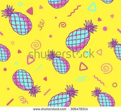 Vector illustration of pink and blue pattern with pineapples on yellow background. Hand draw line art design for web, site, advertising, banner, poster, board and print. - stock vector