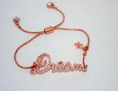 Dream Lettering Bracelet Rose Gold by GlamBoutique20 on Etsy, $14.99