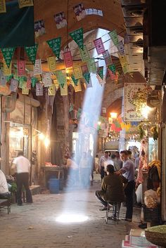 A beam of sunlight in the souk of Aleppo, Syria