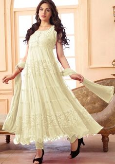 Women s Clothing - Festival Wear Net Off White Anarkali Suit - - Enter with your desired ethnic look at this weekend get together.Salwaar Suits - Festival Wear Net Off White Anarkali Suit - - Enter with your desired ethnic look a White Anarkali, Anarkali Suits, Pakistani Salwar Kameez, Salwar Kameez Online, Festival Wear, Festival Outfits, Designer Suits Online, Suits Online Shopping, Ethnic Looks
