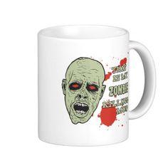Zombie Killing Mug w/ Zombie and Blood Splatter  #coffee #mug #zazzle zazzle.com/jjbdesigns