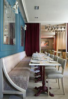 banquette- La Tulipe. Ambiente de bistró francés en el corazón del barrio de Salamanca.  Sharla, cool idea for more table seating.