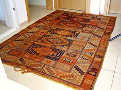 Antique Kurdish rug, Family generations original work, Tribal folk art, wall rug, cottage chic, autumn colors, Winter cabin, Christmas gift. $1,000.00, via Etsy.