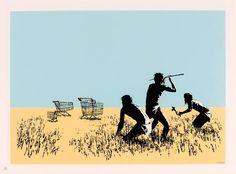 BANKSYTrolley hunter, 2007 Sérigraphie en couleurs sur papier. Estimation: 5.500-6.500 euros.