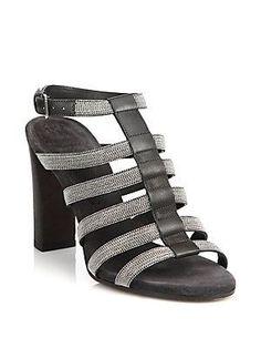Brunello Cucinelli Monili-Trimmed Leather Cage Sandals - Graphite - Si