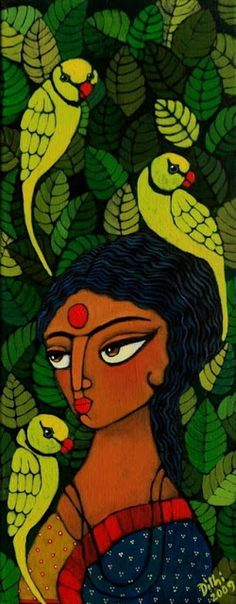 women Indian Artwork, Indian Folk Art, Indian Art Paintings, Indian Artist, Madhubani Art, Madhubani Painting, Indian Contemporary Art, Modern Art, Sketch Painting