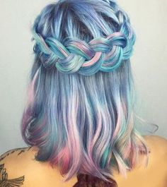 Gorgeous mermaid blue pink & teal hair with beautiful braided crown :) perfect hairstyle Awesome & crazy hair color dyes ideas Beautiful and unique hair color Hair styles to try Hair inspiration Dyed hair care & tips at home Trending in Hair & Dye My Hair, New Hair, Mermaid Hair, Mermaid Style, Crazy Hair, Cool Hair Color, Pretty Hairstyles, Perfect Hairstyle, Hairstyle Ideas