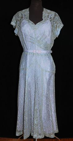 VTG 40's Ice Blue Lace Illusion Dress w/ Slip SM/Med Party Wedding Metal Zipper #Unbranded