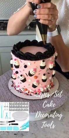 Cake Decorating Frosting, Cake Decorating Designs, Creative Cake Decorating, Cake Decorating Techniques, Cake Decorating Tutorials, Cake Designs, Cookie Decorating, Cake Art, Pen Cake