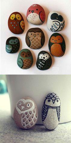painted owl rocks #diy #paintedrocks