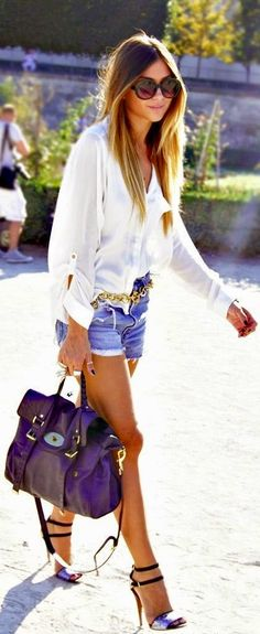 White Top with Denim Short and Strppy Heels Chic...