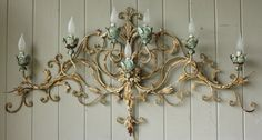 Vintage Tole Ware Painted 7 Light Wall Sconce by robinseggbleunest