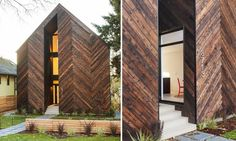"""The Palatine home's distinctive façade is made from hand-charred cedar slabs treated with the Japanese """"shou sugi ban"""" technique. This process naturally seals the wood to withstand Seattle's rainy weather."""