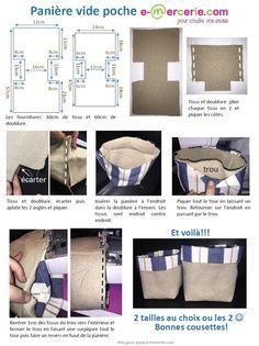 Hello Here is a tutorial simplified to the maximum with the least possible seams to quickly realize baskets in fabric or empty pocket.pdf Online haberdashery is a wide choice … Craft Tutorials, Sewing Tutorials, Fabric Basket Tutorial, Fairy Crafts, Fabric Bins, Couture Sewing, Haberdashery, Pattern, Blog Couture