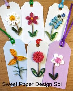 Items similar to Paper quilling Flower Gift Tag,wedding gift tag, birthday,baby shawer Gift Tags -Set of 6 with linen ribbon on Etsy - franziska Quilling Birthday Cards, Paper Quilling Cards, Paper Quilling Tutorial, Paper Quilling Flowers, Paper Quilling Patterns, Quilled Paper Art, Quilled Roses, Neli Quilling, Quilling Jewelry
