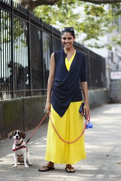Love the color, the outfit and the dog. Inspiration for a brighter closet.