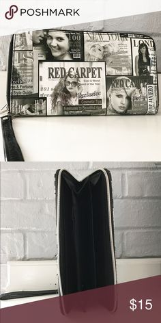 Newspaper clutch/ wallet /wrist bag 🛍🙌🏼😍 How cool is this newspaper wallet /clutch bag perfect to carried all your goodies used but great condition almost new I shipped very fast 👌🏽 N/A Bags Clutches & Wristlets