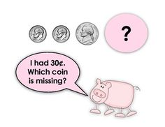 """Sample page from """"The Money Mystery Slide Show""""  {Help Pig E. Bank solve the mystery of the missing coins!}  Great warm up activity before math lesson.  $"""