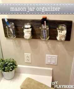 Mason jar bathroom organization