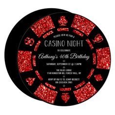 Shop Red Glitter Poker Chip Las Vegas Bachelor Party Invitation created by Invitation_Republic. Vegas Theme, Vegas Party, Casino Night Party, Harlem Nights Theme Party, Casino Party Decorations, Casino Theme Parties, Party Themes, Party Ideas, Theme Ideas