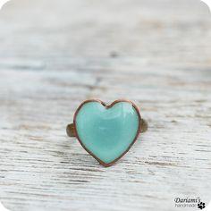 Ring  Mint green heart