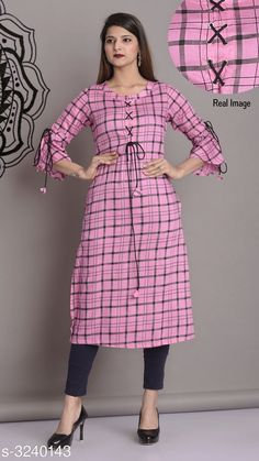 Checkout this latest Kurtis Product Name: *Women's Checked Rayon Kurti* Fabric: Rayon Sleeve Length: Three-Quarter Sleeves Pattern: Checked Combo of: Single Sizes: S, M, L, XL Country of Origin: India Easy Returns Available In Case Of Any Issue   Catalog Rating: ★4.3 (6989)  Catalog Name: Women Rayon Kurtis CatalogID_446712 C74-SC1001 Code: 663-3240143-309