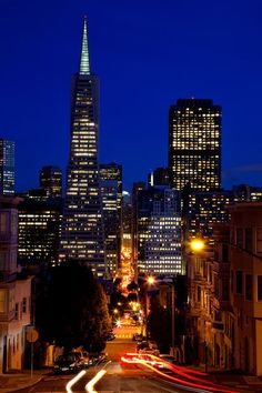 'San Francisco Skyline with Lights' by Peter and Mary Andrade. View from atop a hill.