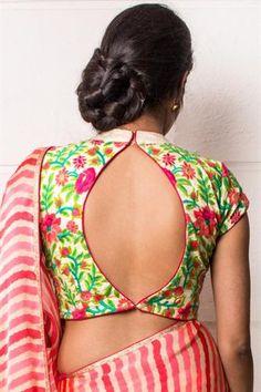 Cream High Neck threadwork blouse