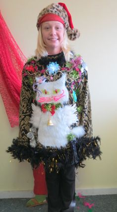 3-D Fuzzy Furry Kitty Cat with angel wings HILARIOUS Tacky Ugly Christmas Sweater Feather Boa FooFoo Trim  Lightup  Womens Oversized SZ L by tackyuglychristmas on Etsy