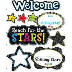BW Shining Stars Bulletin Board Set. Welcome your students to a new school year with this motivational set.