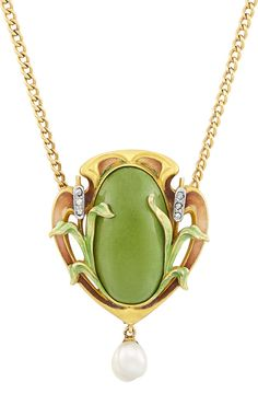 An Art Nouveau Gold, Green Turquoise, Freshwater Pearl, Diamond and Enamel Pendant with Chain, Circa 1900.