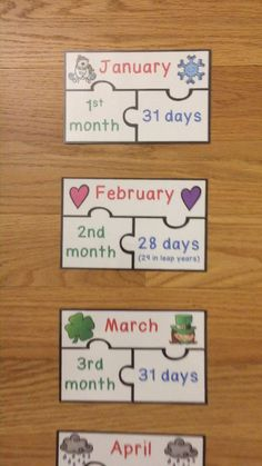 Days in the Months of the Year Activity Printable Puzzles English Activities, Preschool Learning Activities, Kindergarten Worksheets, In Kindergarten, Primary Teaching, Teaching Aids, Primary School Games, Learning English For Kids, Printable Puzzles