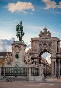 Square, better known as Terreiro do Paço in Lisbon! Country: Portugal Statue of King D. José I of Portugal. We made a wonderful friend here and fed the greedy pigeons Sintra Portugal, Spain And Portugal, Portugal Travel, Places Around The World, Travel Around The World, Around The Worlds, Places To Travel, Places To See, Nature Architecture