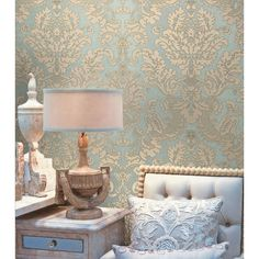 This wallpaper!!! 2537-M3957 Beige Embossed Damask - Agnese - Beacon House Wallpaper